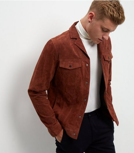 Tan Suede Double Pocket Jacket  | New Look