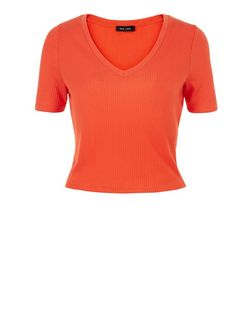 Bright Orange Ribbed V Neck Crop Top | New Look