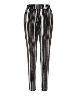 Cameo Rose Black Stripe Trousers  | New Look
