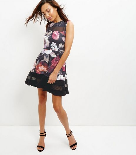 Cameo Rose Floral Print Mesh Panel Skater Dress | New Look