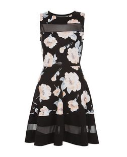 Cameo Rose Black Floral Print Mesh Panel Skater Dress | New Look