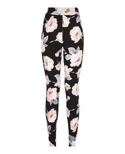 Cameo Rose Black Floral Print Trousers | New Look