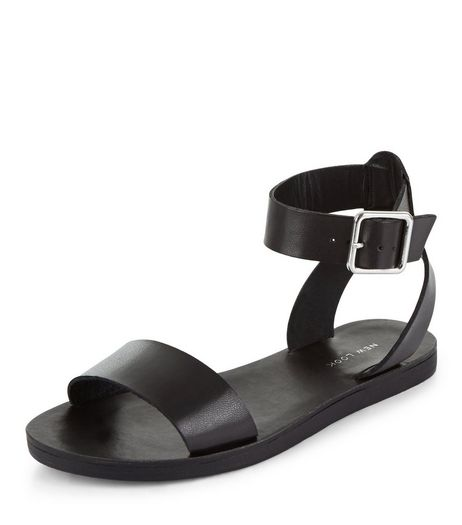 Black Ankle Strap Sandals  | New Look