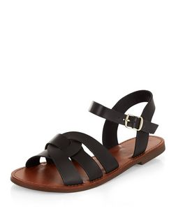 Black Leather-Look Woven Strap Sandals | New Look