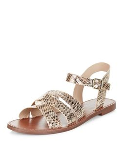 Gold Snakeskin Print Leather-Look Woven Strap Sandals | New Look