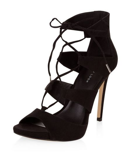 Black Suedette Ghillie Heeled Sandals  | New Look