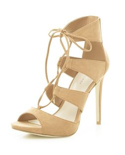 Stone Suedette Ghillie Heeled Sandals  | New Look