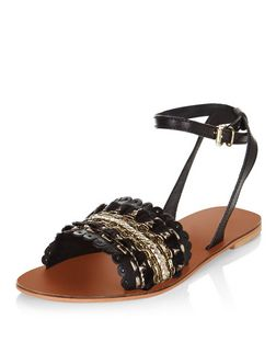 Black Leather Woven Tassel Sandals  | New Look