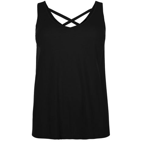 Curves Black Cross Back Vest | New Look
