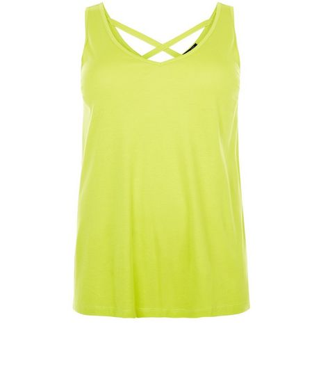 Curves Lime Cross Back Vest | New Look
