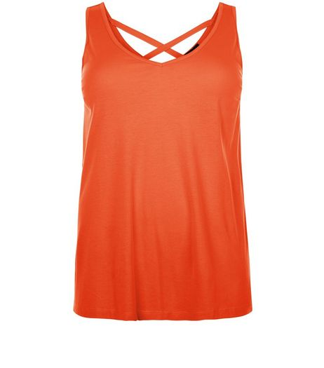Curves Orange Cross Back Vest | New Look