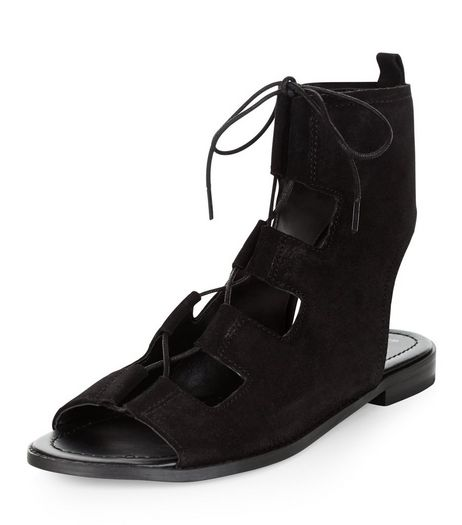 Black Leather Ghillie Sandals | New Look