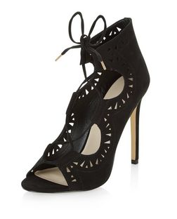 Black Suedette Laser Cut Out Ghillie Heels  | New Look