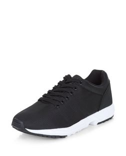 Black Textured Contrast Trainers  | New Look