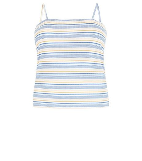 Curves Multicoloured Stripe Ribbed Cami | New Look