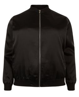 Curves Black Sateen Bomber Jacket  | New Look