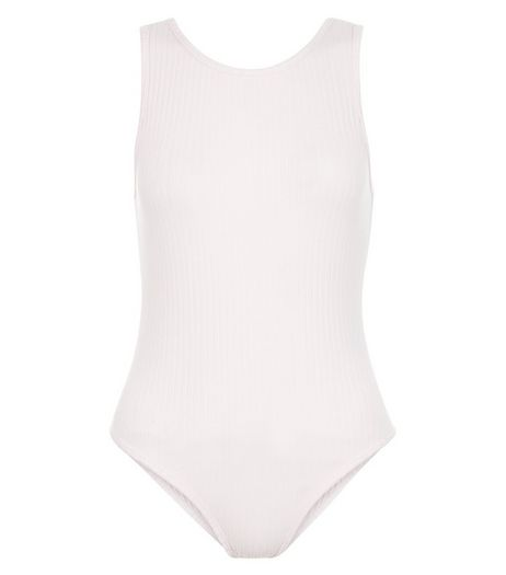 Mid Pink Ribbed Scoop Back Bodysuit  | New Look
