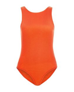 Bright Orange Ribbed Scoop Back Bodysuit  | New Look