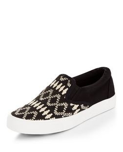 Teens Black Embroidered Slip On Plimsolls | New Look