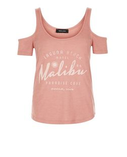 Mid Pink Ribbed Malibu Cold Shoulder Top  | New Look