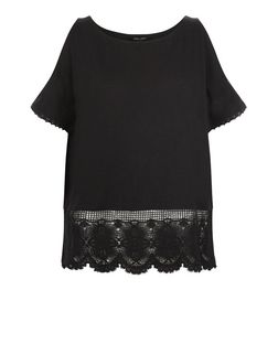 Black Lace Trim Cold Shoulder Top  | New Look