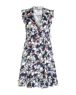 Apricot Navy Floral Print V Neck Dress | New Look