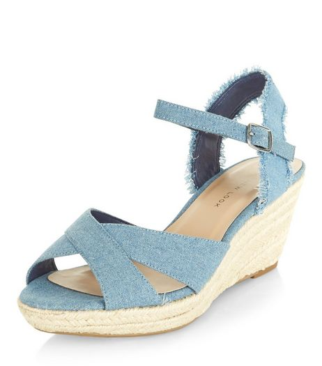 Teens Blue Fray Denim Wedges  | New Look