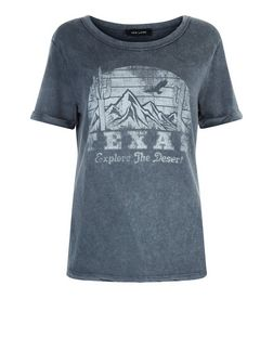 Dark Grey Acid Wash Texas Roll Sleeve T-Shirt  | New Look