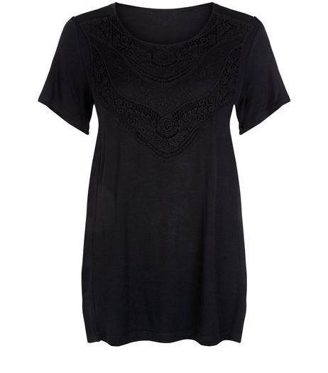 Apricot Black Embroidered Chiffon Hem Top | New Look