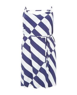 Plus Size Blue Stripe Tie Waist Slip Dress  | New Look