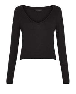 Black Ribbed V Neck Long Sleeve Top  | New Look
