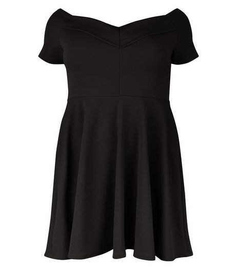Curves Black Bardot Neck Skater Dress  | New Look