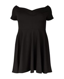 Plus Size Black Bardot Neck Skater Dress  | New Look