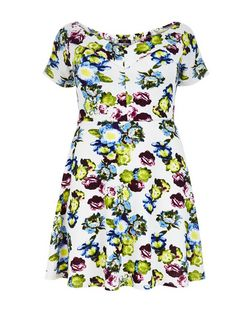 Curves White Floral Print Bardot Neck Skater Dress  | New Look