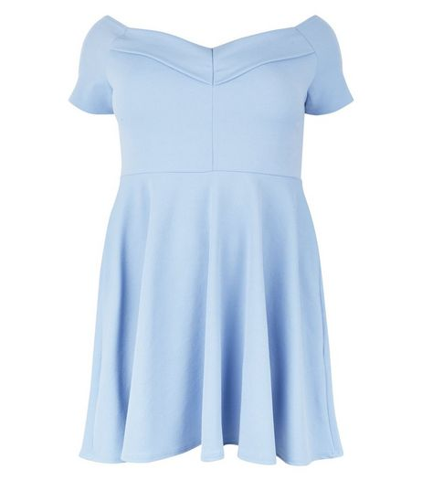 Curves Pale Blue Bardot Neck Skater Dress  | New Look