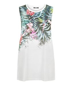 White Tropical Print Tank Top  | New Look