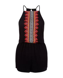 Black Embroidered High Neck Playsuit | New Look