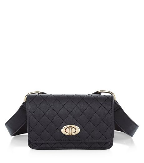Black Quilted Purse Belt  | New Look