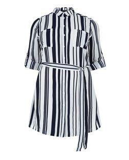 Plus Size Monochrome Stripe Tie Waist Shirt Dress  | New Look