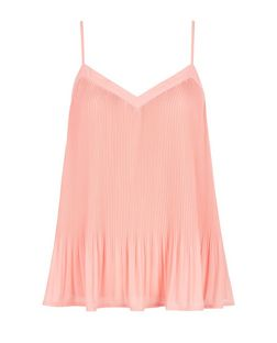 Mid Pink Pleated Chiffon Cami | New Look