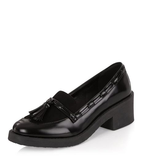 Teens Black Tassel Front Chunky Loafers  | New Look