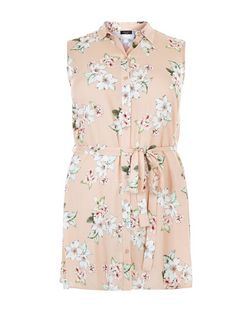 Curves Pink Floral Print Sleeveless Shirt | New Look