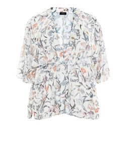 Plus Size White Floral Print Belted Kimono | New Look
