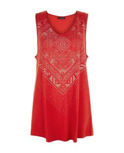 Dark Red Abstract Print Longline Vest  | New Look