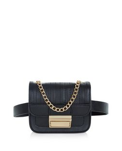 Black Textured Chain Trim Purse Belt  | New Look