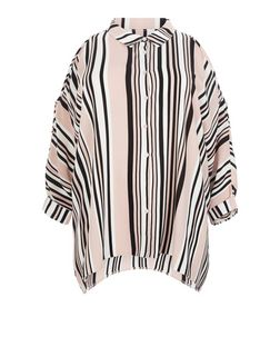 Plus Size Pink Stripe Cold Shoulder Shirt | New Look