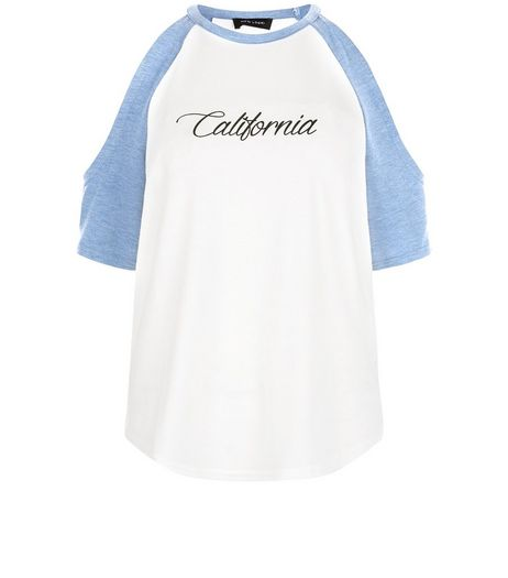 White California Print Cold Shoulder Raglan Sleeve Top | New Look