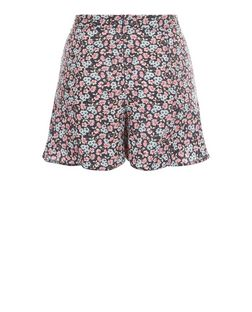 Teens Blue Floral Print Frill Shorts  | New Look