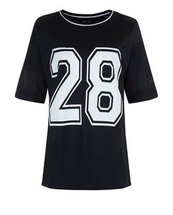 Black 28 Airtex Panel Baseball T-Shirt  | New Look