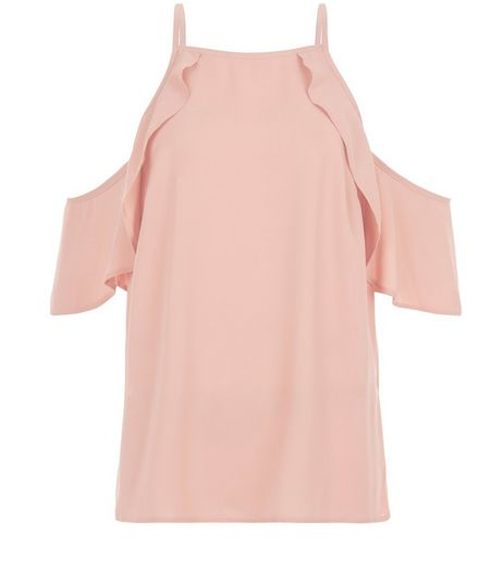 Mid Pink Ruffle Trim Cold Shoulder Top  | New Look